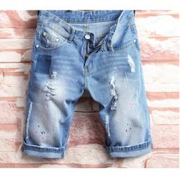 Бедро лошади онлайн-2018 cholyl tide hole male Korean tide Slim hip-hop pants male horse pants summer student denim shorts 28-38 size