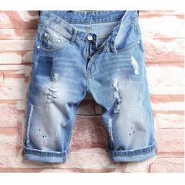 Wholesale korean hip hop pants - 2018 cholyl tide hole male Korean tide Slim hip-hop pants male horse pants summer student denim shorts 28-38 size
