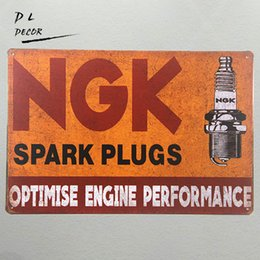 Wholesale Ngk Plugs - Metal Tin signs NGK spark plugs optimise engine Weathered Service Garage Gas iron Paintings Wall Decor