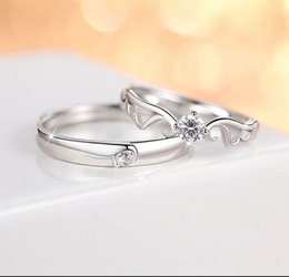 Wholesale Add Heart - pure silver add white zircon couple rings contracted fashionable personality and all match romantic present postal parcel support delivery