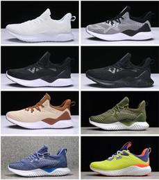 new styles 1d6c9 149dc 2018 Nouveau Promo Adidas AlphaBounce Yeezy Beyond High marbres requin à  l extérieur Chaussures de course Noir Gris Blanc Alpha Khaki chaussures de  jogging ...