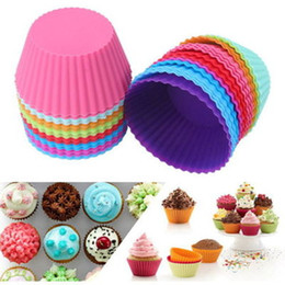 Wholesale Silicon Baking Moulds - 7CM Round Shaped Silicone Muffin Cups Cake Baking Moulds Jelly Mold Silicon Cupcake Reusable & Nonstick Muffin Cups 9 Colors