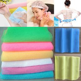 Esfregões de nylon on-line-30 * 90 cm Salux Nylon Esfoliante Japonesa Beleza Pele Banho de Chuveiro Toalha de Pano de lavagem de Volta Esfregar Bath Brushes Multi Cores Livre DHL WX9-440