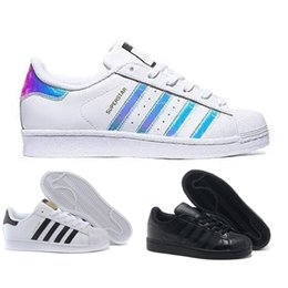 Wholesale Red Gingham Cotton Fabric - Superstar White Red Black Gold Hologram Iridescent Junior Superstars Sneakers Super Star Women Men Sport Casual Shoes SZ36-45
