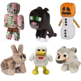 Wholesale minecraft kids - 6pcs lot 18cm Cartoon Animals wolf Rabbit Chick Cat Stuffed toys Minecraft Plush Toys gifts For Kids