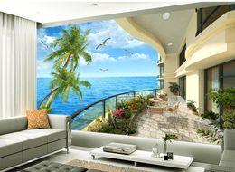 Wholesale villa wedding - 3d wall murals wallpaper Mediterranean villa balcony view TV backdrop window mural wallpaper