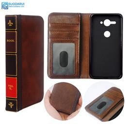 Caja de cuero del teléfono celular del tirón del tirón para Sony Xperia XZ2 cubierta compacta Retro Biblia Vintage libro bolsa de negocios desde fabricantes