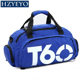 Wholesale Waterproof Canvas Rucksack - HZYEYO Women Sports Bag Gym Men Fitness Waterproof Outdoor Separate Space For Shoes Pouch Rucksack Hide Backpack T60