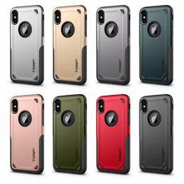 2019 logo teléfono celular SGP Spigen Hybrid Armor Case para Galaxy (J4 J6 J8 J2 Pro A5 A7 A6 A8 Plus) 2018 EU S8 PC + TPU Rugged Dual de lujo con LOGO Cell Phone Cover logo teléfono celular baratos