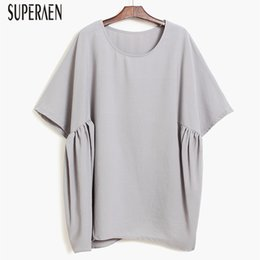 SuperAen Bat Sleeve Chiffon Shirt Female Loose Solid Color Wild Fashion  Ladies Blouse Irregular Summer New 2018 for Women Tops e2c2e2d81063