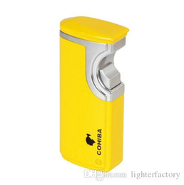 Wholesale Windproof Cigar Torch Lighter - New Arrival COHIBA Grey Gold Yellow Finish Touch Lighter Induction 3 Torch Jet Flame Cigar lighter With Gift Box Punch