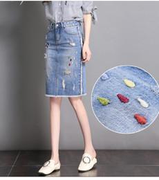 0cdb92dac4 Original Design Good Quality 2018 Summer Fashion Embroidery Hole Denim Skirt  Women Slim Patchwork Knee Length Skirts Ladies Hot ladies knee length denim  ...