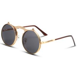 eecbe7d369 VINTAGE STEAMPUNK Sunglasses round Designer steam punk Metal OCULOS de sol  women COATING SUNGLASSES Men Retro CIRCLE SUN GLASSES