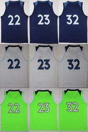Wholesale Butler Jerseys - Minnesota basketball jerseys 17 18 Wiggins #22 Butler #23 Towns #32 blue white green basketball jerseys