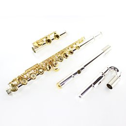 Wholesale Nickel Tubes - Hot Sale Flute 271S White Copper Silver Plated Tube Gold Plated Key Flute 16 Open Hole Musical Instrument With E Mechanism Case