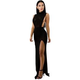 Wholesale Open Bust Black Dress - Women Dress Sexy Slim Waist Bodycon Maxi Beaded Shining See Through Mesh Open Bust Slit Designer Black Party Dress Rave Clubwear