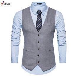 Wholesale Wedding Suit Grey Waistcoat - 2017 New Men Vests Suit V-neck Business Vest Wedding Formal gilet homme Men Classic Vest Waistcoat Size S-XXL