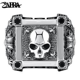 2020 925 sterling silber schädel ring ZABRA Einstellbare Größe 925 Sterling Silber Schädel Ringe Für Männer Zirkon Ring Vintage Puck Rock Biker Schmuck D18111405 rabatt 925 sterling silber schädel ring