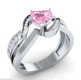 nachahmung saphir schmuck Rabatt Exquisite Herz Rosa Saphir Hochzeit Marke Ring 925 Sterling Silber Schmuck Fingerringe Für Frauen Jubiläumsgeschenk Größe 6-10
