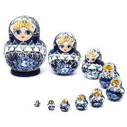 Wholesale Russian Wooden Dolls Set - 10Pcs set Wooden Russian Girl Hand Painted Nesting Dolls Babushka Matryoshka Gifts Hand Paint Doll Toys For Children