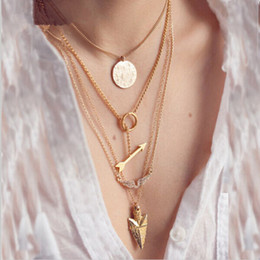 Wholesale Arrow Designs - IPARAM 2018 summer style 4 layer arrow design necklace pendant charm gold choker necklace women jewelry