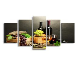 Wholesale Wine Oil Paintings - 5 pieces high-definition print Red wine canvas oil painting poster and wall art living room picture HJ-002