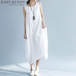 Wholesale linen summer sundresses - Dress linen ladies linen clothing women casual sundress AA3303 Y