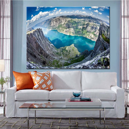 Wholesale Lake Wall Art - Wall Art Pictures Living Room HD Prints Poster 1 Piece Pcs High Mountain Fjord Blue Lake Canvas Paintings Home Decor Framework