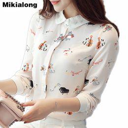 Mikialong Cat Printed Chiffon Blouse Women Lace Peter Pan Collar Body Shirt  2017 Autumn New Korean Ladies Tops Long Sleeve Blusa 020a3d77e