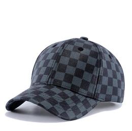 Wholesale Leather Cap Woman - 2018 New arrival fashion plaid leather baseball hat adjustable mens blue baseball hats leisure women cap casquette dropshipping