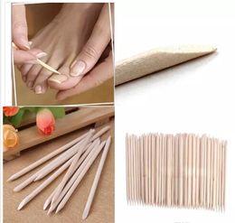Ferramentas de arte de madeira on-line-Nail Art Varas De Madeira Laranja Cuticle Pusher Remover Nail Art Beleza Ferramenta Novo Todos os pregos de madeira empurrar