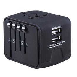 Cargador usb mundial online-Universal Travel Adapter All-in-one Cargador de viaje internacional 2.4A Dual USB Worldwide Adapter Power Plug Cargador de pared 2018