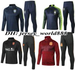 Wholesale holland football shirt - Brazil 2018 World Cup Holland Argentina jacket Training suit kits Belgium POrTuGal francea Spain GERMANYS Netherlands Nigeria football shirt