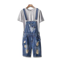 plus size denim jumpsuits UK - wholesale Men Ripped Short Suspender Jeans Pants Distressed Denim Bib Overalls Shorts Jumpsuit Romper For Man Plus Size S-XL