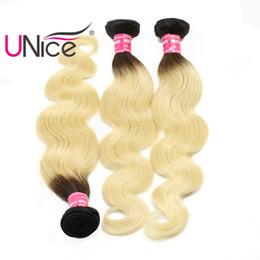 Wholesale Cheap Two Tone Hair - UNice Hair Brazilian 8A Body Wave Bundles Ombre T1B 613 Two Tone Remy 100% Human Hair Extensions Wholesale Cheap Bulk Hair Weaves