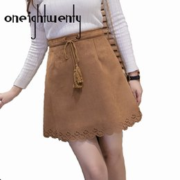 Wholesale Flared Leather Skirt - Autumn Winter Skirt Women 2017 Solid Vintage Suede Leather Thick Tutu Skirts High Waist Flared Puff Mini Skater Ball Skirt 009