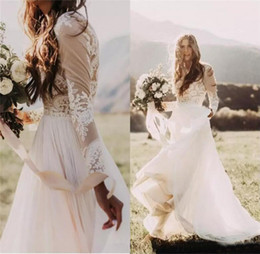 Wholesale Castle Wedding Dresses Long Sleeves - Bohemian Country Wedding Dresses 2018 With Sheer Long Sleeves Bateau Neck A Line Lace Applique Chiffon Boho Bridal Gowns