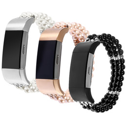 Wholesale plastic band black for watch - New Jewel Pearl Stretch Watch Band for Fitbit Charge 2 Strap Women's Girls' Bracelet for Fitbit Charge 2 Smart Wrist band 3PZ