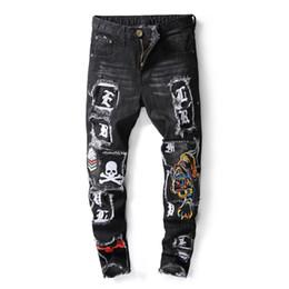 2020 calça jeans novos Plus 2018 NOVO Vestuário Tigre Cabeça Bordado Homens Jeans Preto Calças Hombres Jean Calças Meninos Mens Hip Hop Jeans calça jeans novos barato
