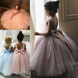 Wholesale halloween bowling - Spring Ball Gown Flower Girls Dresses For Weddings Backless Bowl Ribbon First Communion Dress Tulle Jewel Kids Girls Pageant Gowns
