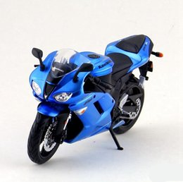 Wholesale Diecast Bicycles - Free shipping High simulation Kawasaki ZX-6R Diecast motorcycle model Exquisite collection model red blue