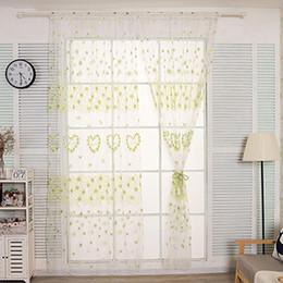 cortina estilos plissados Desconto 1 PC Borboleta Coração Janela Screening Gaze Tule Cortina Cortina Voile Varanda para Casa Decoração Do Hotel