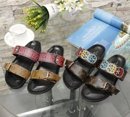 Wholesale ladies peep toe sandals - New Fashion Women Casual Sandals printing brand Beach shoes Ladies Peep toe Slippers