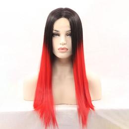 1b красный кружевной фронт Скидка Мягкие длинные прямые 1B черный Ombre Красный термостойкие волокна без клея парики кружева фронт парик синтетические для черных женщин