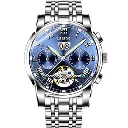 Wholesale Bathing Table - DOM Sport watch New automatic mechanical watch hollow tourbillon men's table waterproof swimming bathing Free shipping