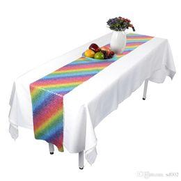 2019 mesa de comedor paño estilo chino Arco Iris de Lentejuelas Mantel Unicorn Festival Celebration Table Runner Fuentes de Fiestas Paño de Fibra de Poliéster de Alto Grado Home 26hb ii