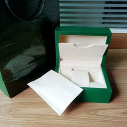 Wholesale Paper Bag Tags - New Style Brand Green Watch Original Box Papers Gift Watches Boxes Leather bag Card 185mm*140mm*85mm 0.8KG For Rolex Watch Box