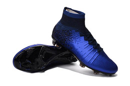 Wholesale Purple Ankle Boots - Mercurial Superfly V AG FG CR7 Black Blue Soccer Cleats Indoor Magista Obra II Football Boots Hypervenom High Ankle Neymar JR Soccer Shoes