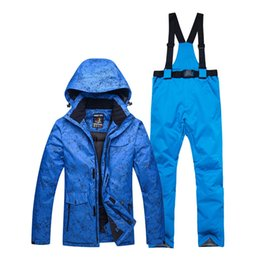 ski costumes Promo Codes - -30 blue Adult Ski Clothing Snowboarding sets waterproof windproof Breathable outdoor Snow suit jacket + belt pant Unsex costume