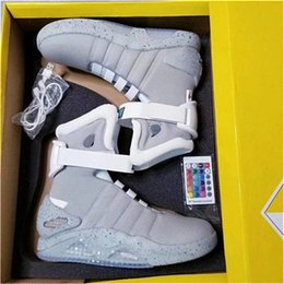 Wholesale mag back future - 2018 Air Mag Sneakers Marty McFly LED Shoes Back To The Future Light Up Shoes Grey Red Black Glow In The Dark With Shoes Box High Quality